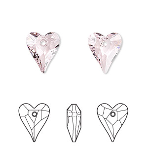 drop, swarovski crystals, crystal passions, rosaline, 12x10mm faceted wild heart pendant (6240). sold per pkg of 18.