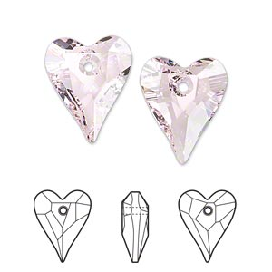 drop, swarovski crystals, crystal passions, rosaline, 17x14mm faceted wild heart pendant (6240). sold per pkg of 12.