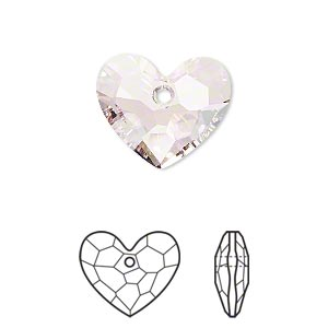 drop, swarovski crystals, crystal passions, rosaline, 18x15mm faceted truly in love heart pendant (6264). sold per pkg of 6.