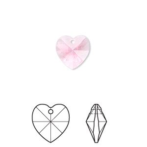 drop, swarovski crystals, crystal passions, rose, 10x10mm xilion heart pendant (6228). sold per pkg of 2.