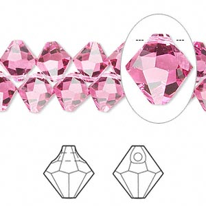 drop, swarovski crystals, crystal passions, rose, 8mm faceted bicone pendant (6301). sold per pkg of 144 (1 gross).