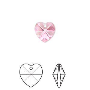drop, swarovski crystals, crystal passions, rose ab, 10x10mm xilion heart pendant (6228). sold per pkg of 24.