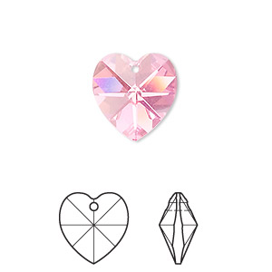 drop, swarovski crystals, crystal passions, rose ab, 14x14mm xilion heart pendant (6228). sold per pkg of 24.