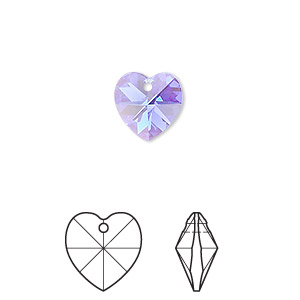 drop, swarovski crystals, crystal passions, sapphire ab, 10x10mm xilion heart pendant (6228). sold per pkg of 2.