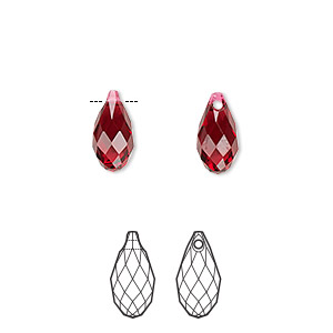 drop, swarovski crystals, crystal passions, scarlet, 11x5.5mm faceted briolette pendant (6010). sold per pkg of 24.