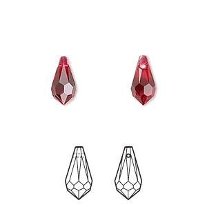 drop, swarovski crystals, crystal passions, scarlet, 11x5.5mm faceted teardrop pendant (6000). sold per pkg of 2.