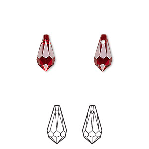 drop, swarovski crystals, crystal passions, siam, 11x5.5mm faceted teardrop pendant (6000). sold per pkg of 2.