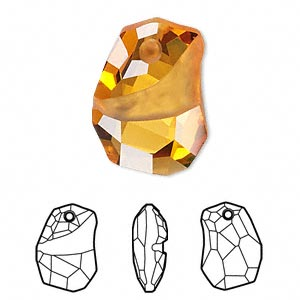 drop, swarovski crystals, crystal passions, topaz, 27x19mm faceted divine rock pendant (6191). sold per pkg of 6.