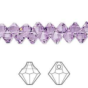 drop, swarovski crystals, crystal passions, violet, 6mm faceted bicone pendant (6301). sold per pkg of 12.