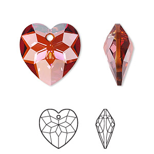 drop, swarovski crystals, crystal red magma, 18x17mm faceted heart pendant (6215). sold per pkg of 72.
