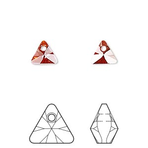 drop, swarovski crystals, crystal red magma, 8mm xilion triangle pendant (6628). sold per pkg of 288 (2 gross).