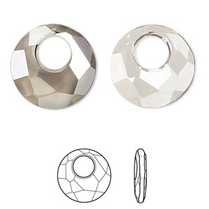 drop, swarovski crystals, crystal satin, 18mm faceted victory pendant (6041). sold per pkg of 30.