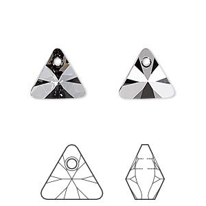drop, swarovski crystals, crystal silver night, 12mm xilion triangle pendant (6628). sold per pkg of 144 (1 gross).