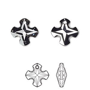 drop, swarovski crystals, crystal silver night, 14mm faceted greek cross pendant (6867). sold per pkg of 72.
