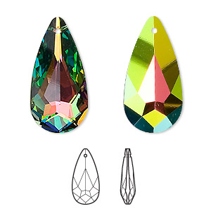 drop, swarovski crystals, crystal vitrail medium, 24x12mm faceted teardrop pendant (6100). sold per pkg of 36.