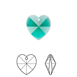 drop, swarovski crystals, emerald, 14x14mm xilion heart pendant (6228). sold per pkg of 24.