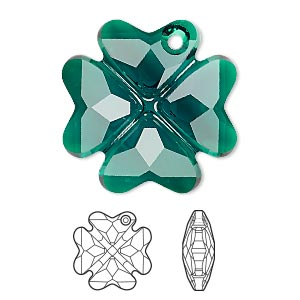 drop, swarovski crystals, emerald, 28mm faceted clover pendant (6764). sold per pkg of 16.