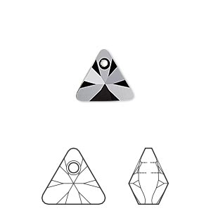 drop, swarovski crystals, jet, 12mm xilion triangle pendant (6628). sold per pkg of 144 (1 gross).