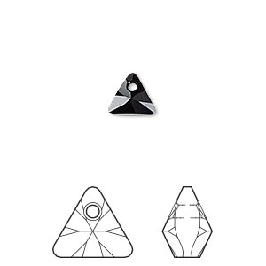 drop, swarovski crystals, jet, 8mm xilion triangle pendant (6628). sold per pkg of 288 (2 gross).