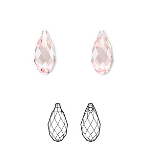 drop, swarovski crystals, light rose, 13x6.5mm faceted briolette pendant (6010). sold per pkg of 144 (1 gross).