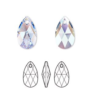 drop, swarovski crystals, light sapphire shimmer, 16x9mm faceted pear pendant (6106). sold per pkg of 144 (1 gross).