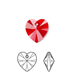 drop, swarovski crystals, light siam, 14x14mm xilion heart pendant (6228). sold per pkg of 144 (1 gross).