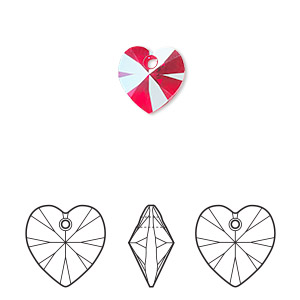 drop, swarovski crystals, light siam shimmer, 10mm xilion heart pendant (6228). sold per pkg of 288 (2 gross).