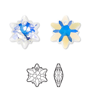 drop, swarovski crystals, partially frosted crystal ab, 18mm faceted edelweiss pendant (6748/g). sold per pkg of 48.