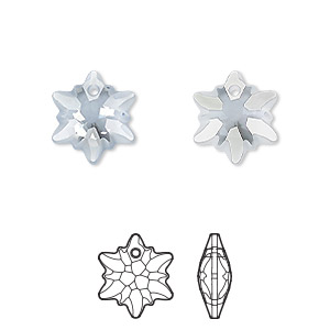 drop, swarovski crystals, partially frosted crystal blue shade, 14mm faceted edelweiss pendant (6748/g). sold per pkg of 72.