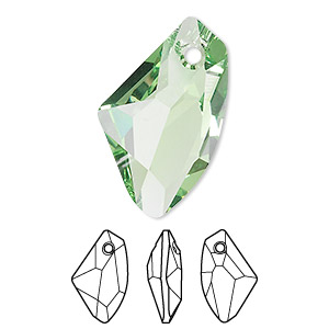 drop, swarovski crystals, peridot, 27x16mm faceted galactic vertical pendant (6656). sold per pkg of 30.