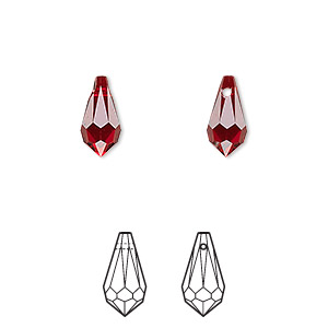 drop, swarovski crystals, siam, 11x5.5mm faceted teardrop pendant (6000). sold per pkg of 288 (2 gross).
