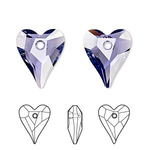 drop, swarovski crystals, tanzanite, 17x14mm faceted wild heart pendant (6240). sold per pkg of 72.