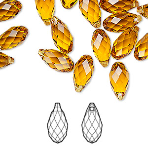 drop, swarovski crystals, topaz, 13x6.5mm faceted briolette pendant (6010). sold individually.