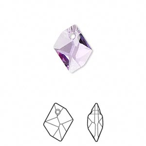 drop, swarovski crystals, violet, 14x11mm faceted cosmic pendant (6680). sold per pkg of 144 (1 gross).