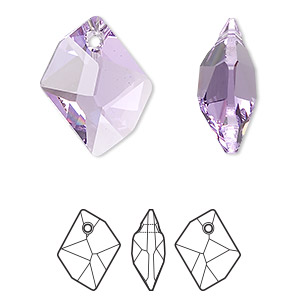 drop, swarovski crystals, violet, 20x16mm faceted cosmic pendant (6680). sold per pkg of 72.