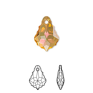 drop, swarovski crystals with third-party coating, crystal passions, crystal summer blush, 16x11mm faceted baroque pendant (6090). sold individually.