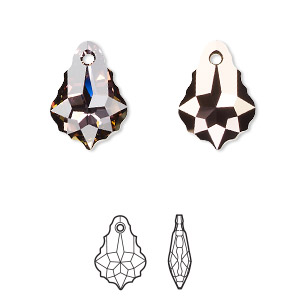 drop, swarovski crystals with third-party coating, crystal passions crystal twilight, 16x11mm faceted baroque pendant (6090). sold individually.