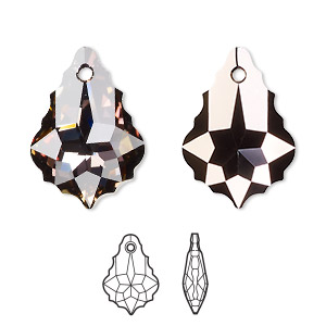 drop, swarovski crystals with third-party coating, crystal passions crystal twilight, 22x15mm faceted baroque pendant (6090). sold per pkg of 12.