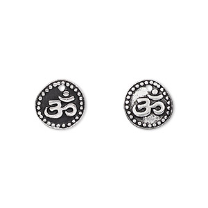 drop, tierracast, antique silver-plated pewter (tin-based alloy), 10mm flat round with om symbol. sold per pkg of 2.