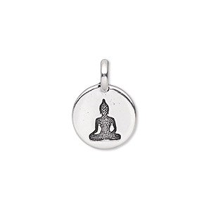 drop, tierracast, antique silver-plated pewter (tin-based alloy), 11.5mm single-sided round with buddha. sold individually.