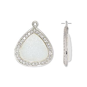 drop, white druzy agate / white topaz (natural) / sterling silver, 20x20mm single-sided teardrop. sold individually.