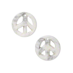 drop, white howlite (natural), 15mm peace sign, c grade, mohs hardness 3 to 3-1/2. sold per pkg of 2.