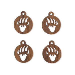 drop, wood (natural), 11mm single-sided left- and right-facing flat round with cutout bear paw design. sold per pkg of 4.