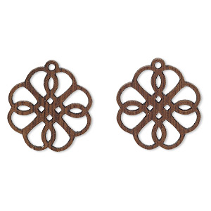 drop, wood (natural), 19x19mm double-sided flower with cutout design. sold per pkg of 2.