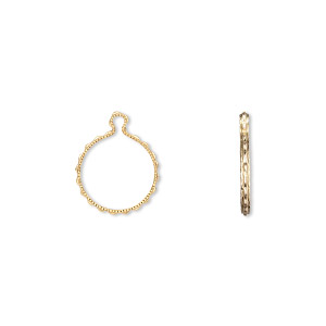 drop, wrap-tite, 14kt gold-filled, 10mm fancy round setting. sold per pkg of 2.