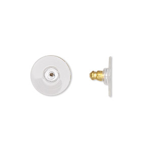 earnut, acrylic and gold-plated aluminum, clear, 12x7mm comfort clutch. sold per pkg of 5 pairs.