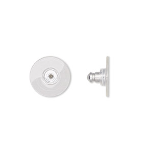 earnut, aluminum and acrylic, clear, 12x7mm comfort clutch. sold per pkg of 50 pairs.