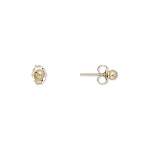 earring, 14kt gold, 3mm smooth ball with post. sold per pair.