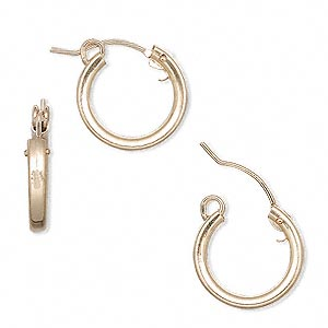 earring, 14kt gold-filled, 15mm flexible round hoop with latch-back closure. sold per pair.