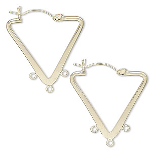 earring, 14kt gold-filled, 25x22mm flat triangle hoop with 3 closed loops and latch-back closure. sold per pair.